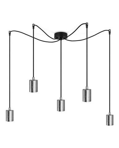 Čierne závesné svietidlo s 5 kábelmi a objímkami v striebornej farbe Bulb Attack Cero