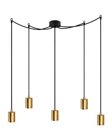 Čierne závesné svietidlo s 5 káblami a objímkami v zlatej farbe Bulb Attack Cero
