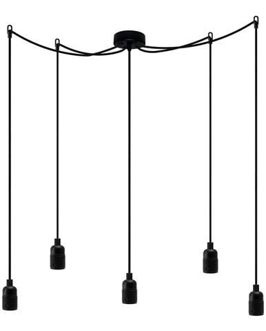 Čierne závesné svietidlo s 5 káblami Bulb Attack Uno Cassie