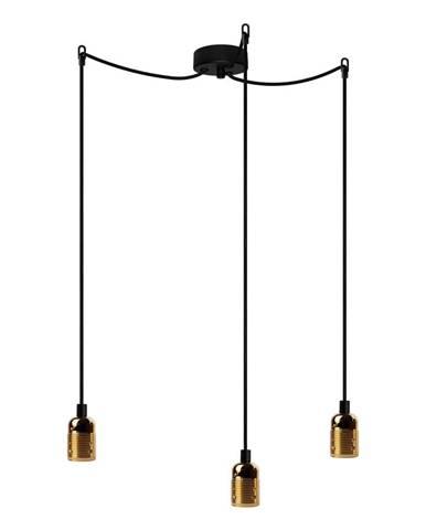 Závesné svietidlo s 3 čiernymi káblami a zlatou objímkou Bulb Attack Uno Basic