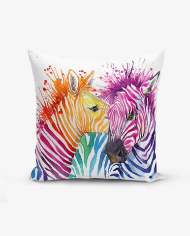 Obliečka na vankúš s prímesou bavlny Minimalist Cushion Covers Colorful Zebras Oleas, 45 × 45 cm