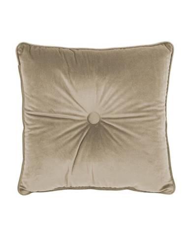 Béžový vankúš Tiseco Home Studio Velvet Button, 45 x 45 cm