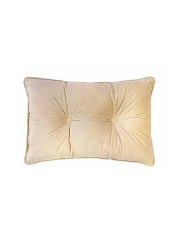 Krémovobiely vankúš Tiseco Home Studio Velvet Button, 40 x 60 cm