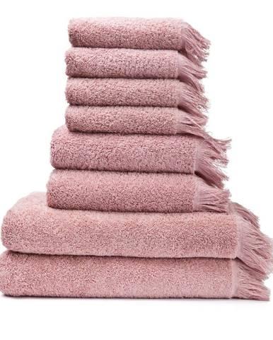 Sada 6 ružových uterákov a 2 osušiek zo 100 % bavlny Bonami