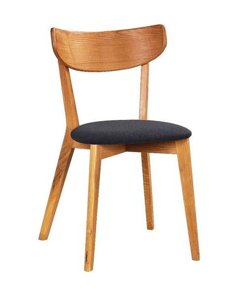 Rowico Hnedá dubová jedálenská stolička s tmavosivým sedadlom Rowico Ami