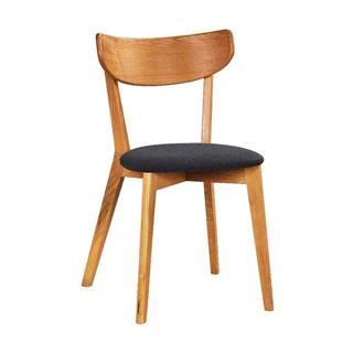 Hnedá dubová jedálenská stolička s tmavosivým sedadlom Rowico Ami