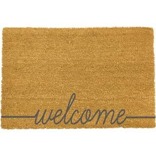 Sivá rohožka z prírodného kokosového vlákna Artsy Doormats Welcome Scribbled, 40 x 60 cm