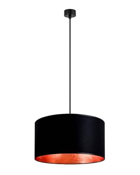 Sotto Luce Čierne stropné svietidlo s vnútrajškom v medenej farbe Sotto Luce Mika, ∅50 cm