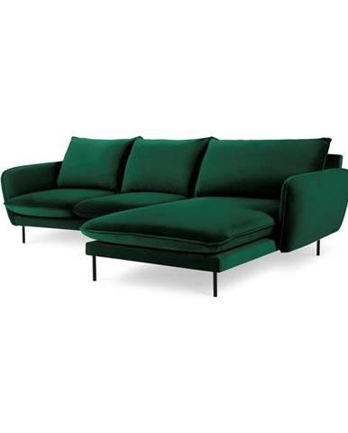 Zelená zamatová rohová pohovka Cosmopolitan Design Vienna, pravý roh