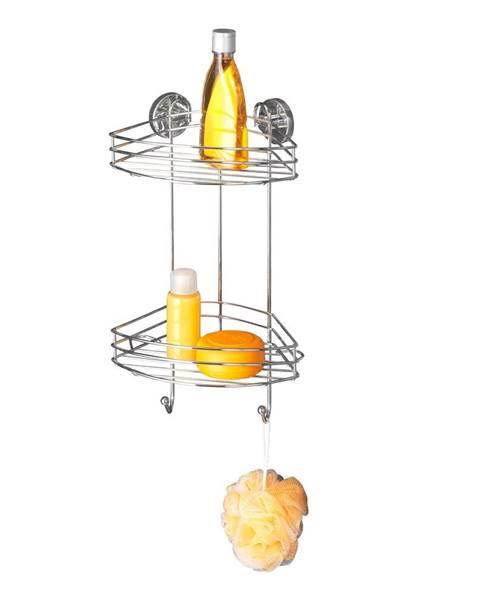 Wenko Samodržiaca rohová dvojposchodová polička Wenko Vacuum-Loc, nosnosť až33kg