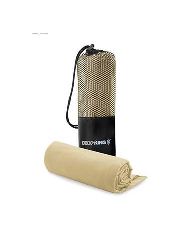 Set béžovej rýchloschnúcej osušky a uteráku DecoKing EKEA, 70 × 140 cm + 30 × 50 cm
