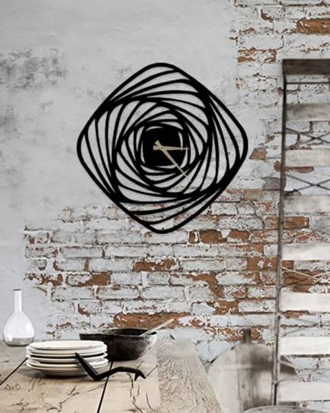 Pirudem Čierne kovové nástenné hodiny Girdap, ⌀50 cm
