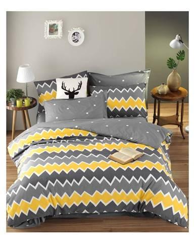 Obliečky na jednolôžko z ranforce bavlny Mijolnir Zigros Yellow, 140 × 200 cm