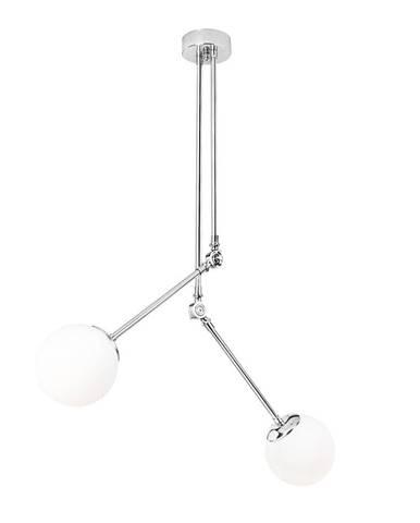 Biele kovové závesné svietidlo v chrómovej farbe Opviq lights Anatoli