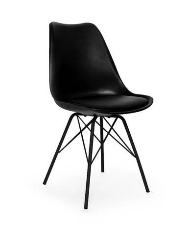 Súprava 2 čiernych stoličiek s čiernou podnožou z kovu loomi.design Eco