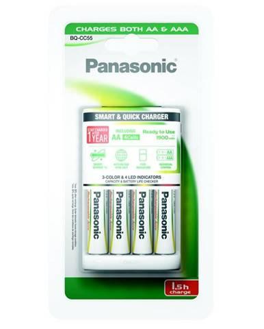 Nabíjačka Panasonic BQ-CC55 Smart Quick pro AA,AAA + 4x AA, 1900