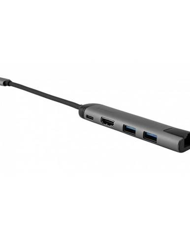 USB Hub Verbatim USB-C/2xUSB 3.0, Hdmi, RJ45 sivý