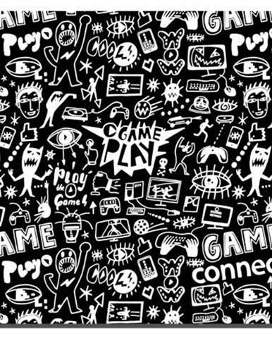 Podložka pod myš  Connect IT Doodle malá, 32 x 26 cm čierna/biela