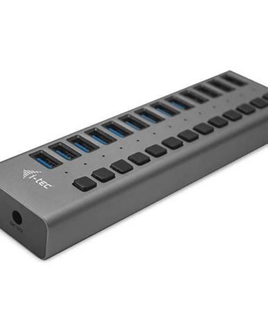 USB Hub i-tec 13x USB 3.0, 60W strieborný