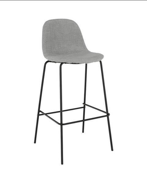 Tempo Kondela Barová stolička svetlosivá látka/kov MARIOLA NEW