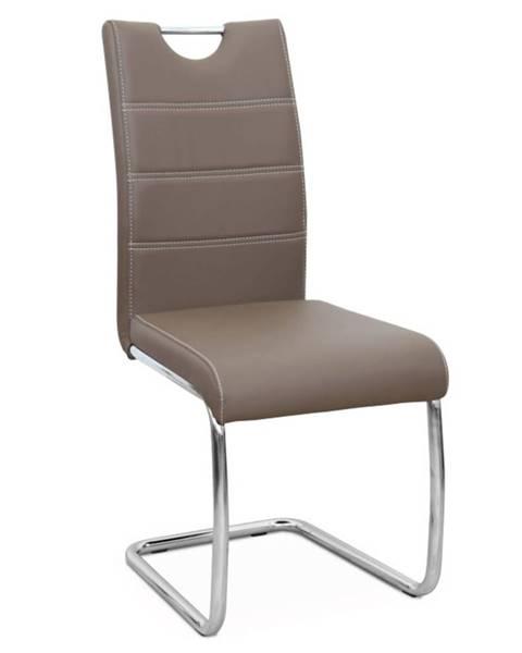 Tempo Kondela Jedálenská stolička hnedá/svetlé šitie ABIRA NEW