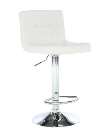 Barová stolička biela ekokoža/chróm KANDY NEW