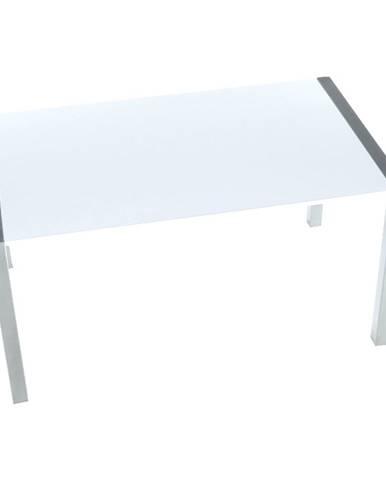 Jedálenský stôl rozkladací MDF/kov biela extra vysoký lesk HG/strieborná DARO poškodený tovar