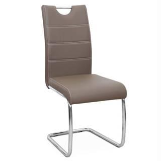 Jedálenská stolička hnedá/svetlé šitie ABIRA NEW