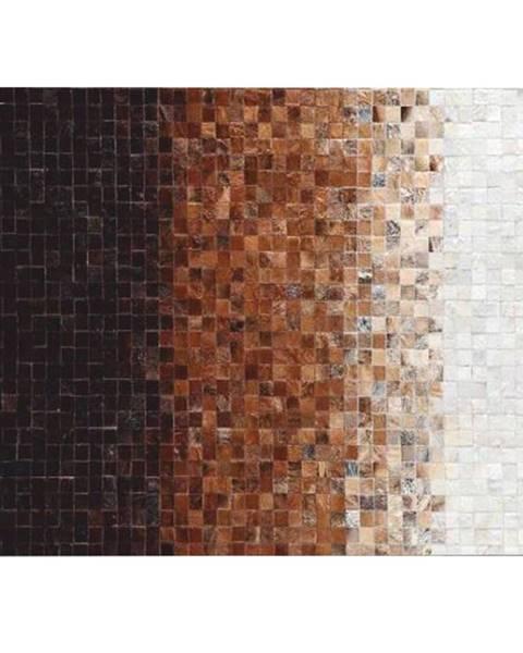 Tempo Kondela Luxusný kožený koberec biela/hnedá/čierna patchwork 120x180 KOŽA TYP 7