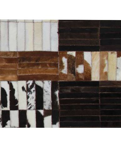 Luxusný kožený koberec čierna/hnedá/biela patchwork 171x240 KOŽA TYP 4