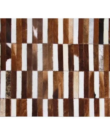 Luxusný kožený koberec hnedá/biela patchwork 69x140 KOŽA TYP 5