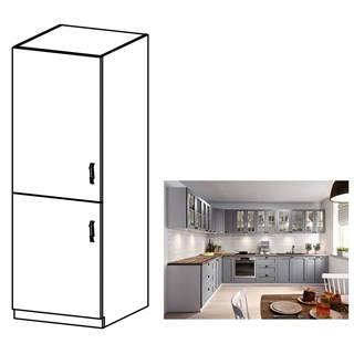Skrinka na vstavanú chladničku sivá matná/biela ľavá LAYLA D60ZL