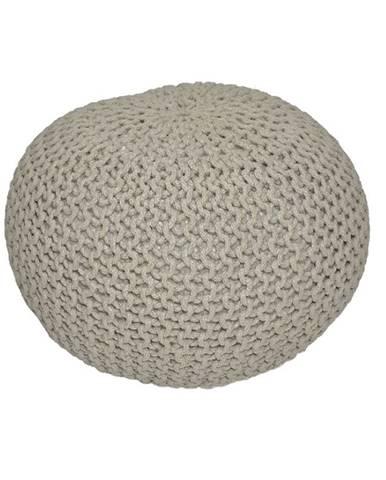 Pletený taburet hnedosivá bavlna GOBI TYP 1