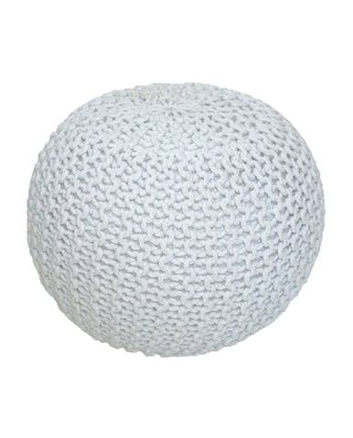 Pletený taburet smotanová (biely melír) bavlna GOBI TYP 1