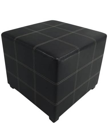 Taburet čierna textilná koža NELA NEW