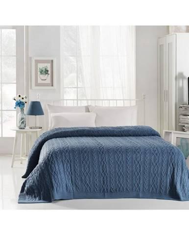 Atramentovomodrá prikrývka cez posteľ Knit, 220 x 240 cm