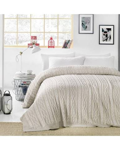 Sivobéžová prikrývka cez posteľ Knit, 220 x 240 cm