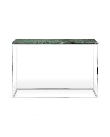 Zelený konzolový stolík s mramorovou doskou TemaHome