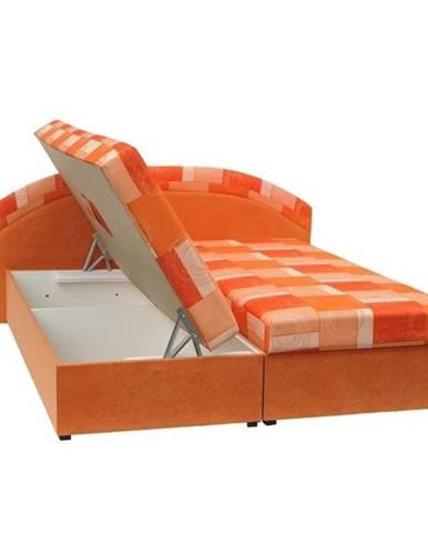 Manželská posteľ pružinová oranžová/vzor KASVO
