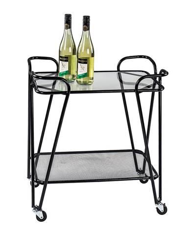 Pojazdný servírovací stolík čierna/sklo MEGON