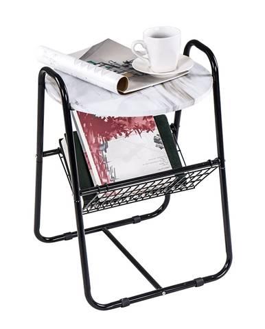 Príručný stolík mramor/čierna GARSY