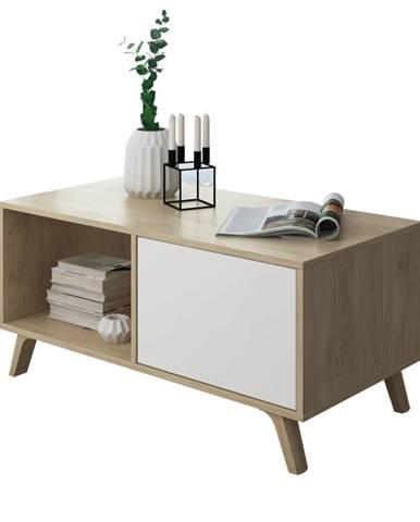 Konferenčný stolík dub puccini/biela LAND poškodený tovar