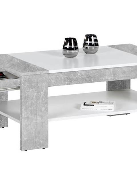 Sconto Konferenčný stolík FINLEY PLUS beton/biela