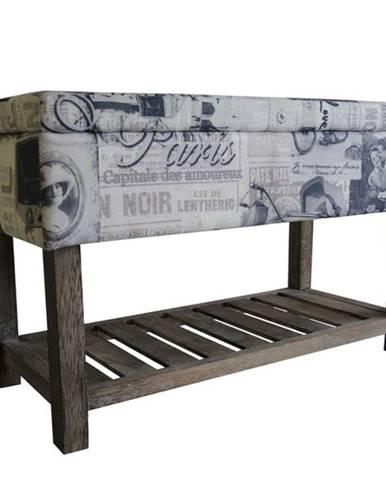 Úložný taburet PARIS 001 krémová s potlačou/hnedá