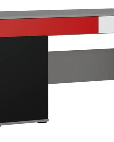 Písací stôl LASER červená/sivá