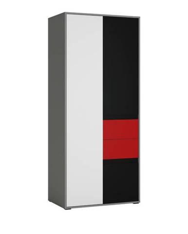 Skriňa LASER červená/sivá