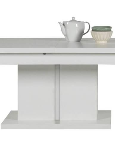 Konferenčný stolík IVONA biela vysoký lesk, rozkladací 114-144 cm