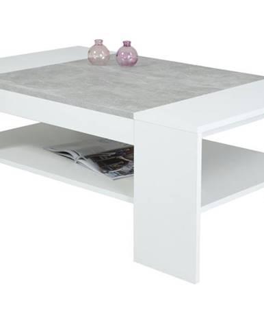 Konferenčný stolík OLIVER biela/betón