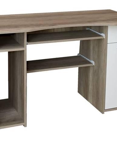 PC stôl LINDA dub canyon/biela