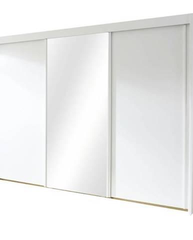 Šatníková skriňa KING biela, 280 cm, 1 zrkadlo